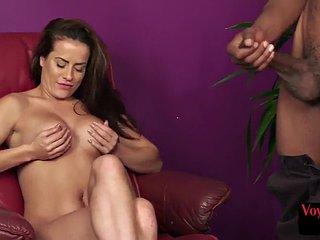 British curvy voyeur watching ebony wanker jerk cock