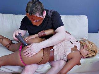 Trashy sub eats hard cock before anal